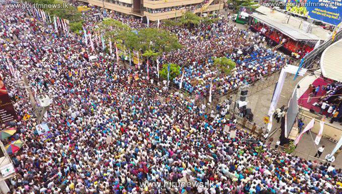 Croton+and+Jak+leaves+exhibited+at+the+Nugegoda+joint+opposition+rally