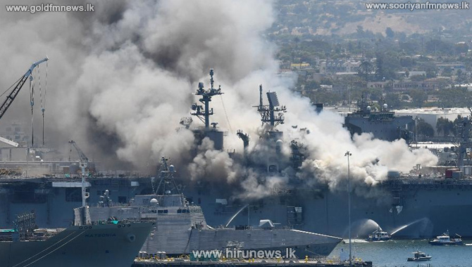 US warship on fire 21 injured