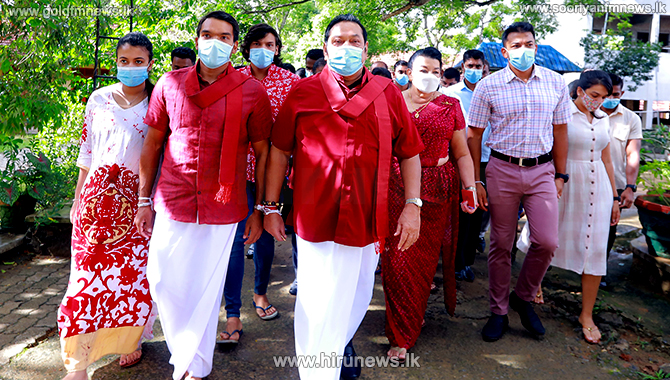 The Rajapakse family cast their votes at Hamabantota